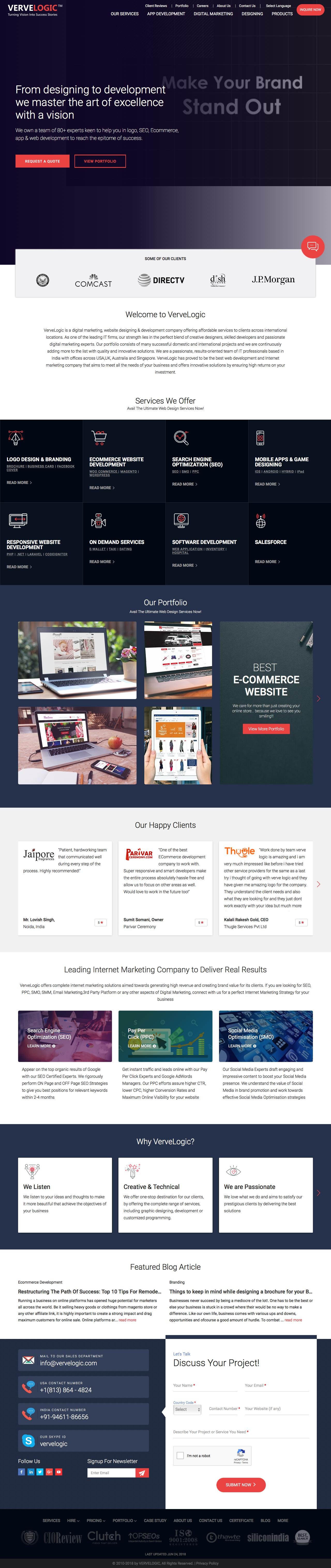 Screenshot of vervelogic.com - Web Design India and Internet marketing company India, Jaipur - captured June 25, 2018