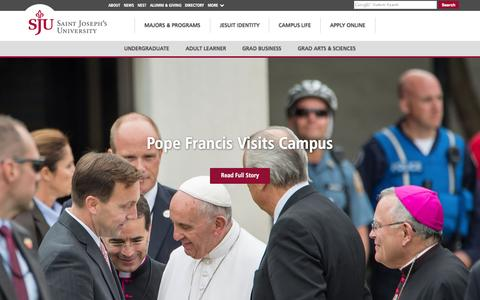Screenshot of Home Page sju.edu - Saint Joseph's University - captured Oct. 2, 2015
