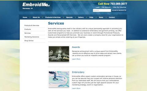 Screenshot of Services Page embroidme-manassas.com - Services   EmbroidMe - captured Oct. 2, 2014