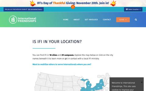 Screenshot of Locations Page ifipartners.org - Ministry Locations – International Friendships, Inc (IFI) - captured Nov. 9, 2018