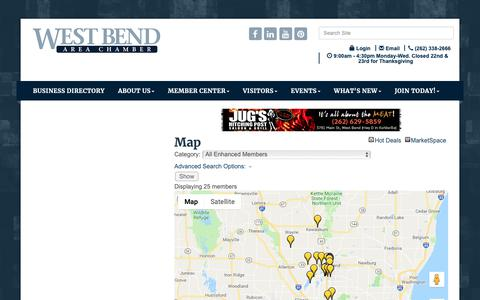 Screenshot of Maps & Directions Page wbachamber.org - Map - West Bend Area Chamber of Commerce Inc., WI - captured Nov. 27, 2018