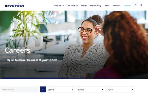 Screenshot of Jobs Page centrica.com - Careers | Centrica plc - captured Sept. 15, 2019
