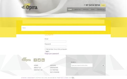 Screenshot of Login Page opira.com.au - Environmental air quality testing and management - captured Feb. 22, 2016