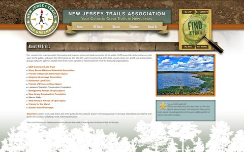 Screenshot of About Page njtrails.org - About NJ Trails | New Jersey Trails Association - captured May 22, 2016