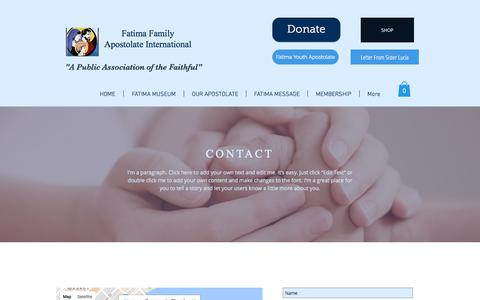 Screenshot of Contact Page fatimafamily.org - fatima2 | CONTACT - captured Oct. 13, 2017