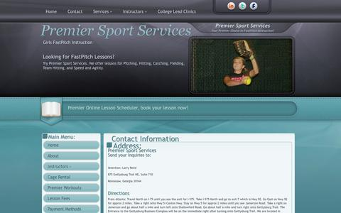 Screenshot of Contact Page Maps & Directions Page premiersportservices.com - Contact Us - captured Sept. 30, 2014