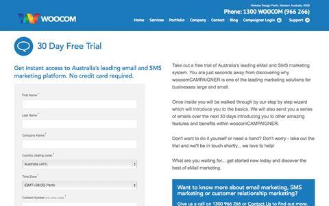 Screenshot of Trial Page woocom.com.au - Free Trial | Email & SMS Marketing - captured Oct. 26, 2014
