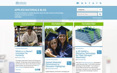 Screenshot of Blog appliedmaterials.com - The Applied Materials Blog - captured Sept. 19, 2014