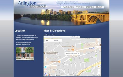 Screenshot of Maps & Directions Page arlingtonlawgroup.com - Arlington Law Group | Directions to the Firm - captured Oct. 23, 2017
