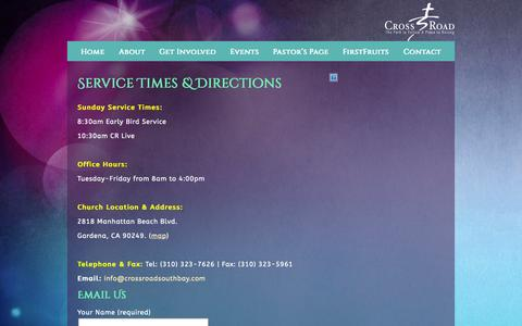 Screenshot of Contact Page crossroadsouthbay.com - Contact Us «  CrossRoad Ministries - captured Oct. 3, 2014