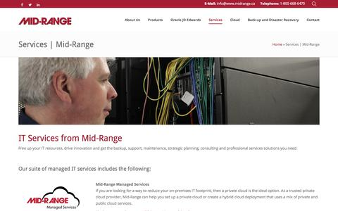 Screenshot of Services Page midrange.ca - Services | Mid-Range - Mid-Ranged Managed IT Services - captured Oct. 18, 2017