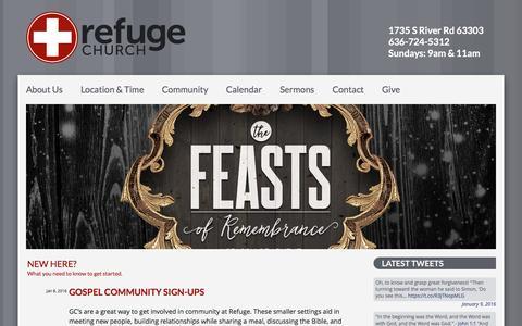 Screenshot of Home Page seekrefuge.net - Refuge Church - captured Jan. 22, 2016