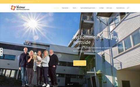 Screenshot of Home Page vestmarbht.no - Forside - Vestmar Bedriftshelsetjeneste - captured June 22, 2015