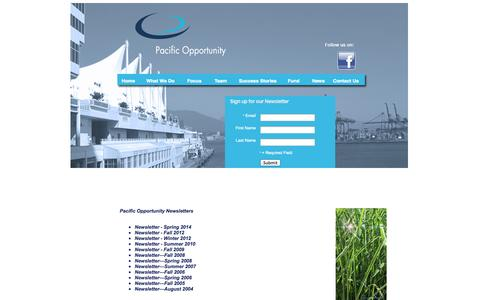 Screenshot of Press Page pacificopportunity.com - Newsletters - captured Oct. 1, 2014