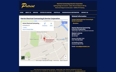 Screenshot of Maps & Directions Page patriotelect.com - Directions | Patriot Electrical Contracting & Service Corporation - captured Oct. 2, 2014