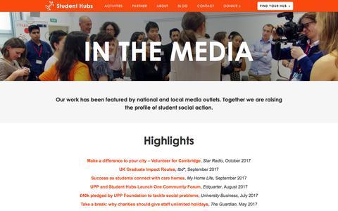 Screenshot of Press Page studenthubs.org - Media |  Student Hubs - captured Nov. 10, 2017
