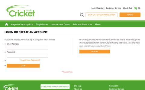 Screenshot of Login Page cricketmedia.com - Cricket | Shop Online for Kids Magazines, Kids Books, Kids Toys and Activities for Children Ages 6 Months – 14 Years + | Customer Login - captured Sept. 9, 2017