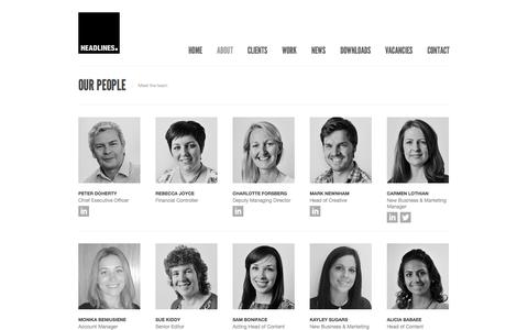 Screenshot of Team Page headlines.uk.com - Headlines | Our People - captured Oct. 2, 2014