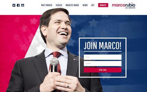 Screenshot of Home Page marcorubio.com - Marco Rubio for Senate – - captured Jan. 17, 2018
