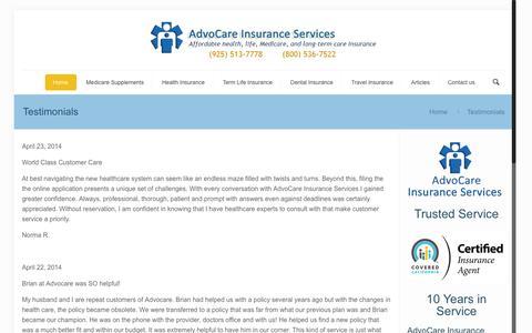Screenshot of Testimonials Page advocareassoc.com - AdvoCare Insurance Services Testimonials - captured Nov. 5, 2016
