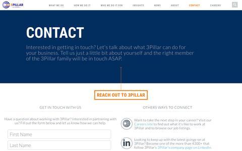 Screenshot of Contact Page 3pillarglobal.com - Contact Us   3Pillar Global - captured Feb. 27, 2016