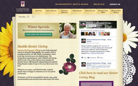 Screenshot of Home Page daystarseattle.com - Seattle WA Retirement Community   Senior Living   Assisted Living   Independent Living   Daystar Retirement Village - captured Feb. 8, 2016