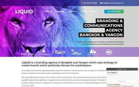 Screenshot of Home Page liquid-branding.com - LIQUID BRANDING - Branding Communications Agency in Bangkok, Thailand - captured Sept. 29, 2018