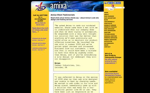 Screenshot of Testimonials Page amixa.com - What our clients say - Client Testimonials // Amixa // - Website design in Greensburg PA, Latrobe, Ligonier, and Bedford - captured Sept. 23, 2018