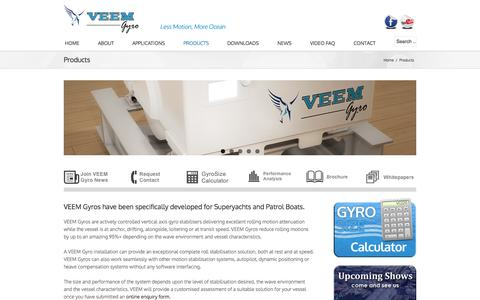 Screenshot of Products Page veemgyro.com - VEEM Gyro Product Range - captured Sept. 30, 2014