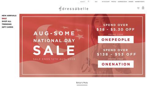 Screenshot of Home Page dressabelle.com.sg - Dressabelle Singapore - Online Shopping - Online Fashion - Women's Clothes Online Blogshop - captured Aug. 8, 2018