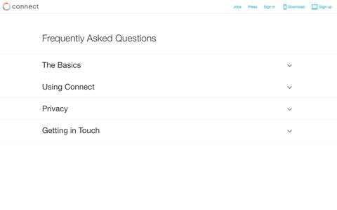 Screenshot of FAQ Page connect.com - Connect - captured Sept. 13, 2014