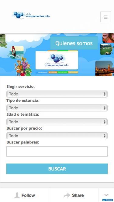 Screenshot of Home Page  campamentos.info - Buscador de Club campamentos.info