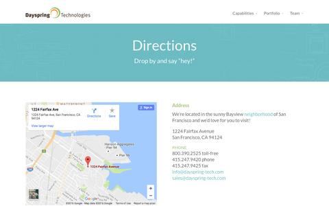 Screenshot of Maps & Directions Page dayspring-tech.com - Directions | Dayspring Technologies - captured Nov. 24, 2016
