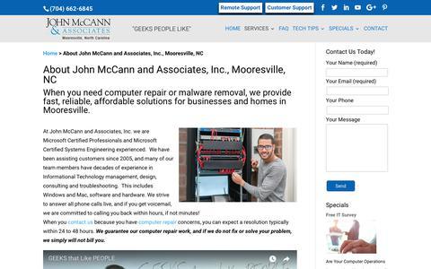 Screenshot of About Page mccannassociates.com - About John McCann and Associates, Inc., Mooresville, NC - captured Oct. 16, 2017