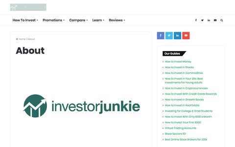 Screenshot of About Page investorjunkie.com - About Investor Junkie - captured Dec. 28, 2019