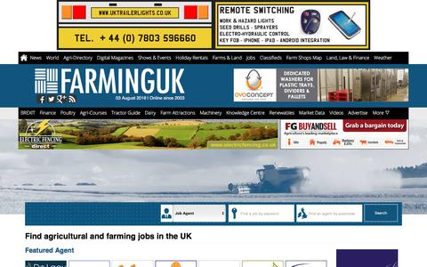 Screenshot of Jobs Page farminguk.com - Farming Jobs in UK | Search Agricultural Jobs from Farming UK - captured Aug. 3, 2016