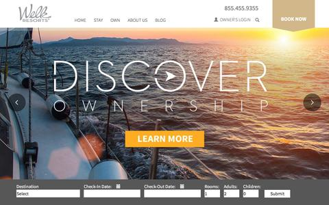 Screenshot of Home Page welkresorts.com - Welk Luxury Resorts - Destination Vacations & Travel Resorts - captured Sept. 22, 2018