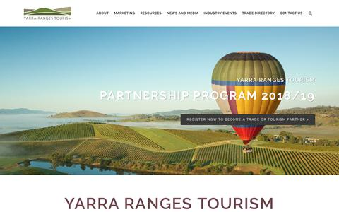 Screenshot of Home Page yarrarangestourism.com.au - Yarra Ranges Tourism | Official Regional Tourism Body - captured July 26, 2018