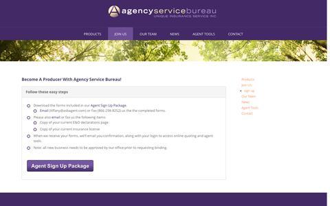 Screenshot of Signup Page asbagent.com - agency service bureau  | sign up - captured Oct. 4, 2014
