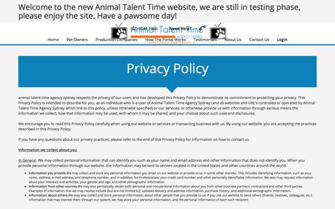 Screenshot of Privacy Page animaltalenttime.com.au - Privacy Policy - Animal Talent Time Agency Sydney - captured July 13, 2018