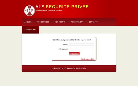 Screenshot of Login Page alfsecurite.com - ALF Sécurité Privée : Espace client - captured Nov. 19, 2016