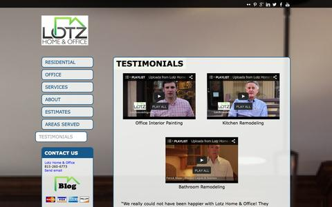 Screenshot of Testimonials Page lotzremodeling.com - Testimonials | Lotz Home & Office | 815-260-6773  | Lotz Home and Office - captured Oct. 3, 2014