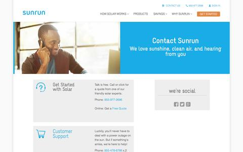 Screenshot of Contact Page sunrun.com - Contact Us via Phone or Email   Sunrun - captured March 31, 2016