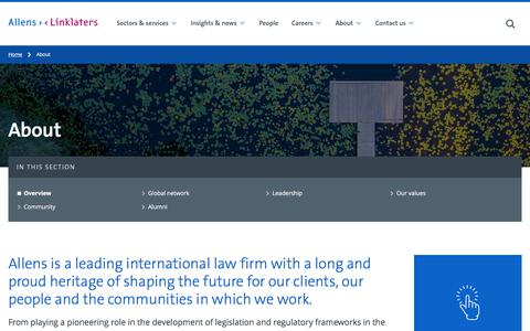 Screenshot of About Page allens.com.au - About - Allens - captured July 3, 2019