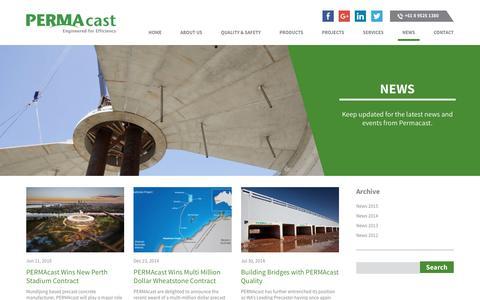 Screenshot of Press Page permacast.com.au - News | PERMAcast - captured July 9, 2016