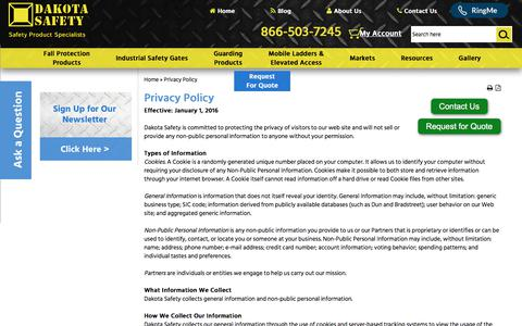 Screenshot of Privacy Page dakotasafety.com - Privacy Policy | Fall Safety Products | Rooftop Guardrails - captured June 3, 2017
