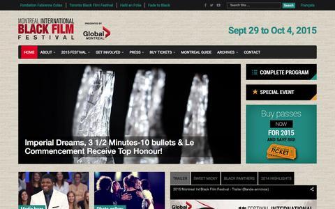Screenshot of Home Page montrealblackfilm.com - Festival International du Film Black de Montréal | 10e anniversaire - captured Oct. 8, 2015