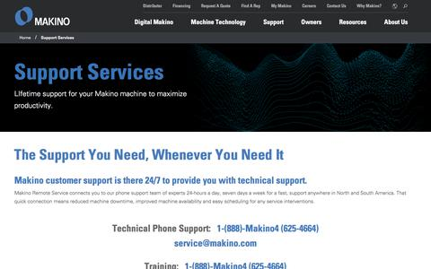 Screenshot of Support Page makino.com - Support Services   Makino - captured Aug. 5, 2019