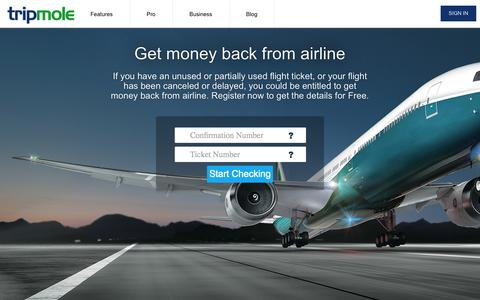 Screenshot of Home Page tripmole.com - Check Unused Flight Ticket Refund and Compensation Value - captured Oct. 8, 2014