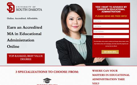 Screenshot of Landing Page usd.edu - MA in Educational Administration - USD Online - captured April 21, 2016